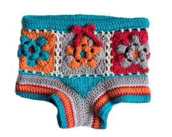 PDF Crochet Pattern for Flower Granny Square Shorts - Sizes 2 to 5 years - Permission To Sell Finished Items