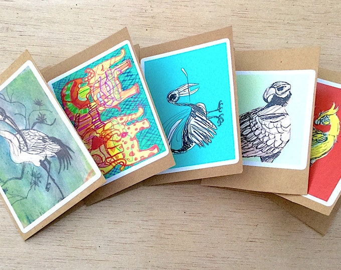 small gift cards bird and animal greeting cards blank inside 5 pk eagle elephant peacock crane yellow bird