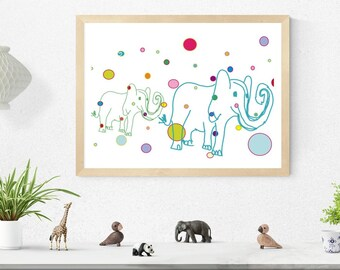 White spotty elephants art print