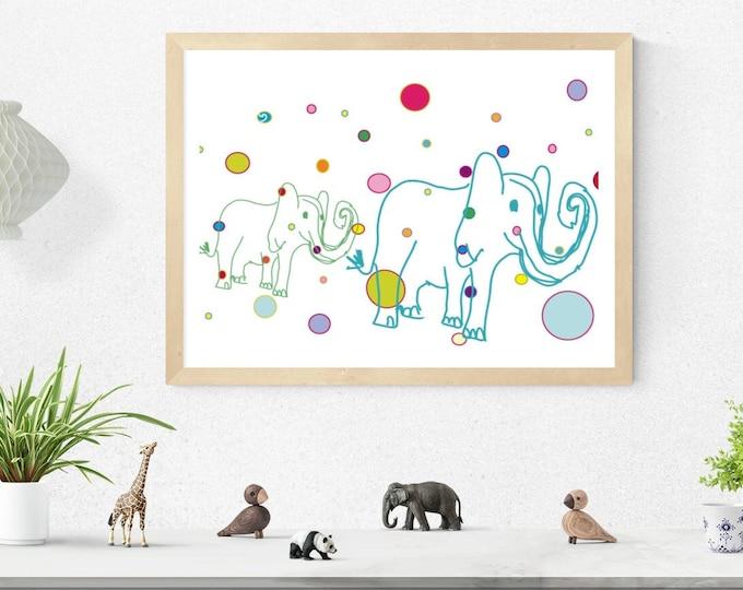 White spotty elephants art print