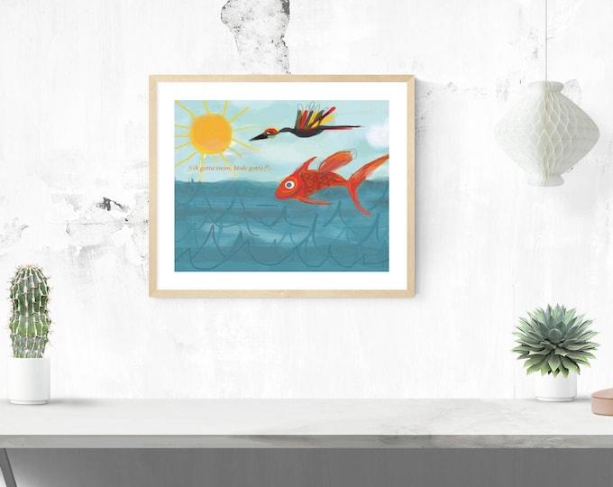 Fish gotta swim giclée framed art print