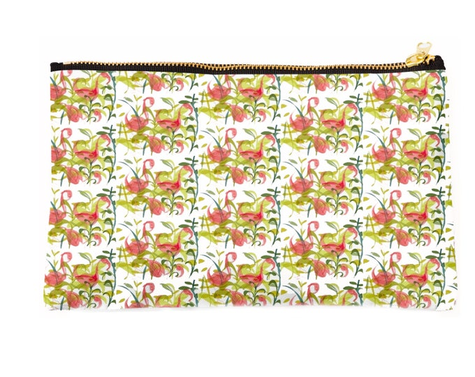 pink Flamingos, zipper fabric pouch, bag organiser, cosmetic bag ,pencil case,  bird, gift 24 x 15 cm