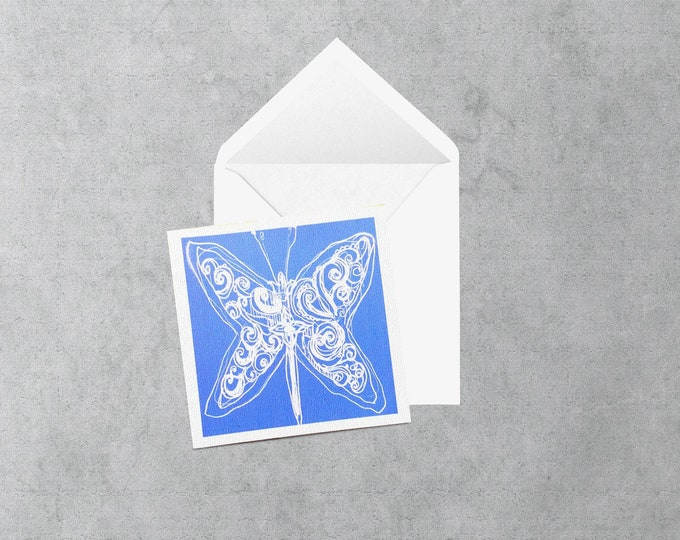 Purple wnd white butterfly square card