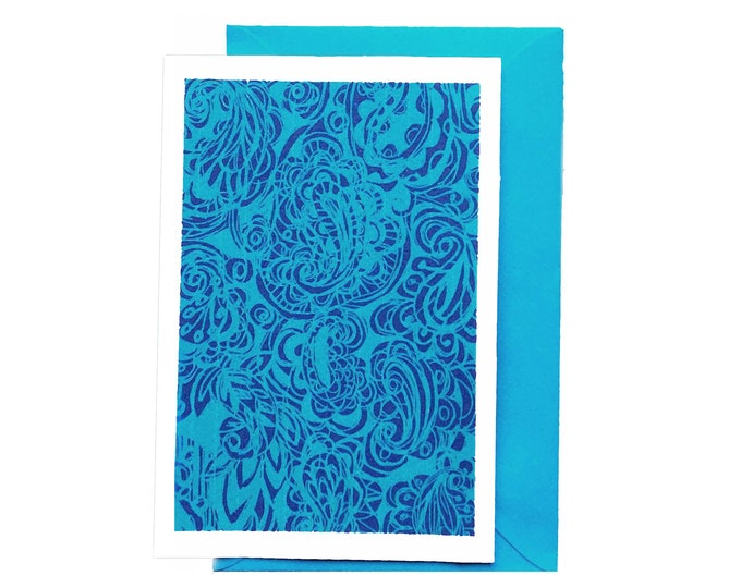 Blue Paisley blank greeting card
