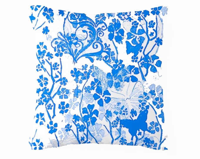 "Blue butterflies throw pillow floral throw cushion home decor pattern  homewares  16x16"" 41x41cm"