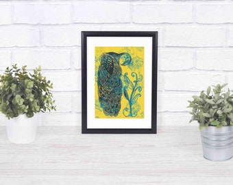 Blue & Yellow Peacock framed print