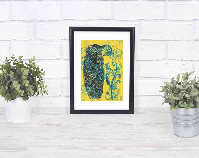 Blue and Yellow Peacock  framed giclée print