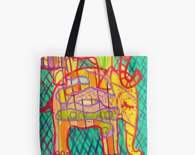 Elephants floral Tote bag