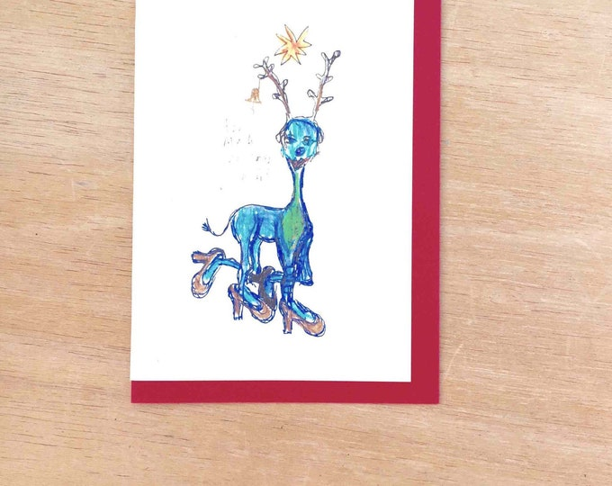 Blue Reindeer Christmas card celebration greeting card A6 blank inside