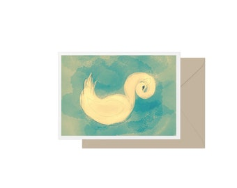 Swan blank greeting card