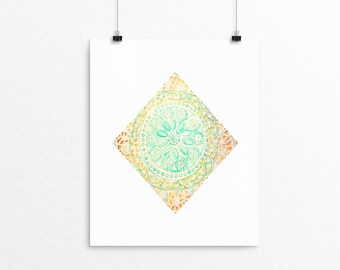 Diamond mandala unframed art print