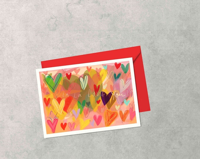 Hearty,hearts, blank greeting card recycled paper, original art, drawing, celebration, rainbow, A6, love, Valentine's Day