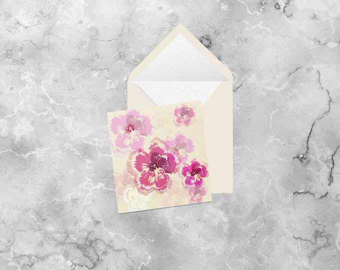 Hibiscus square greeting card (blank inside)