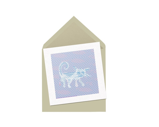 Spotty Cat square greeting card 12x12cm