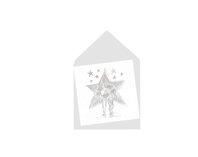 STAR square blank greeting card