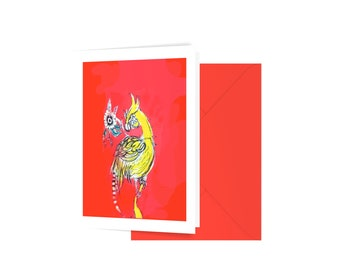 Yellow bird blank greeting card