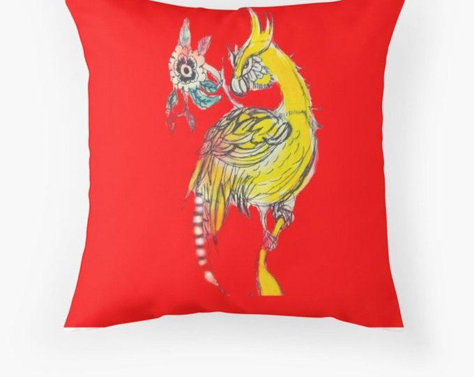 "Yellow Bird cushion  fabric throw pillow with insert 41cm 16"" home decor  homewares"