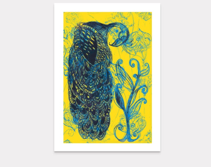 Blue and yellow peacock blank greeting card
