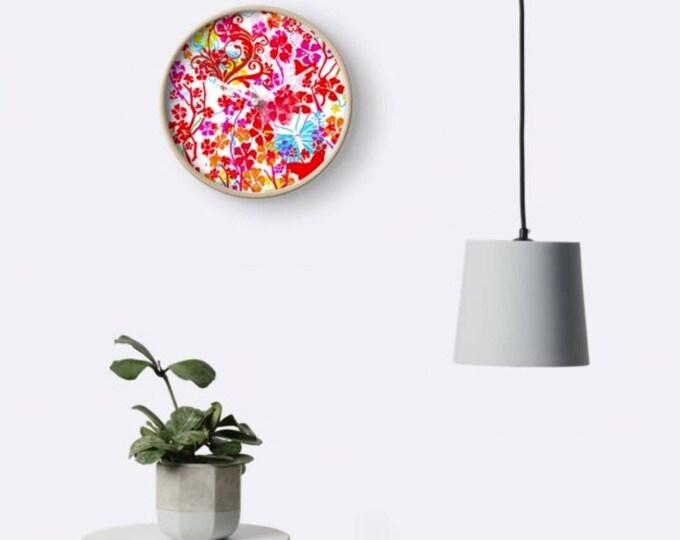 Butterflies floral bamboo clock wall art home decor art print wall decor gift