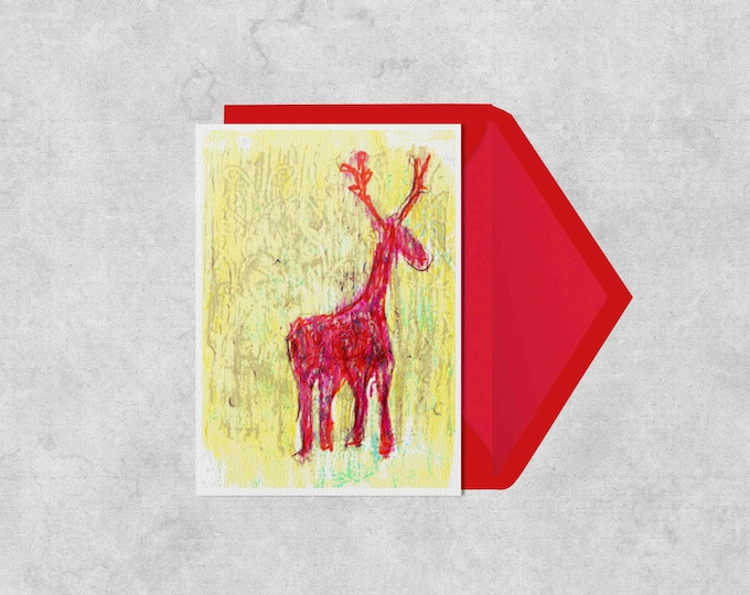 Red, pattern, reindeer, christmas, festive greeting card, blank inside, A6, drawing, quality recycled card