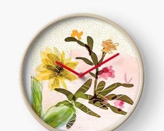Floral succulent bamboo clock