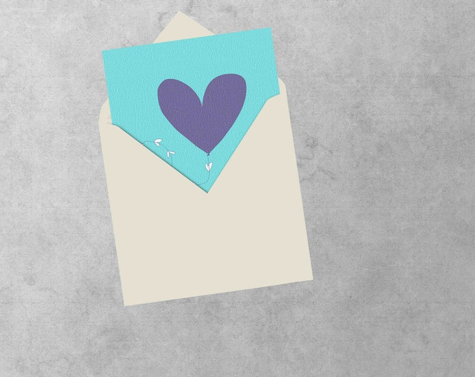 Heart Kite square blank greeting card