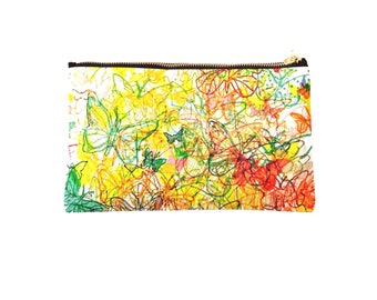 Colourful butterflies fabric pouch 24 x 15 cm