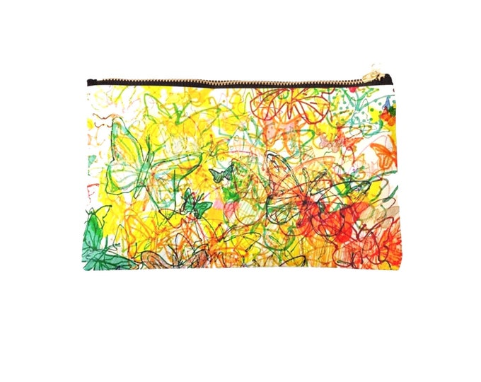 Colourful butterflies fabric pouch 24 x 15 cm
