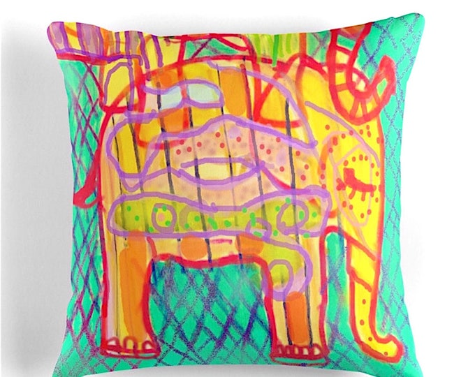 Elephant Throw Pillow home decor printed throw cushion 41x41cm 16""