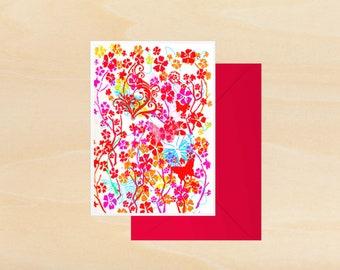 Pink Butterflies greeting card