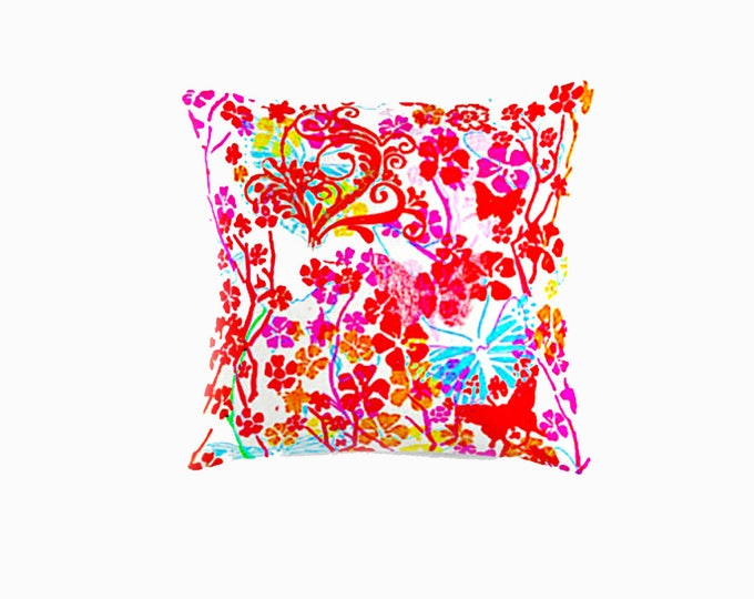 "pink butterflies throw pillow  16x16"" 41x41cm"