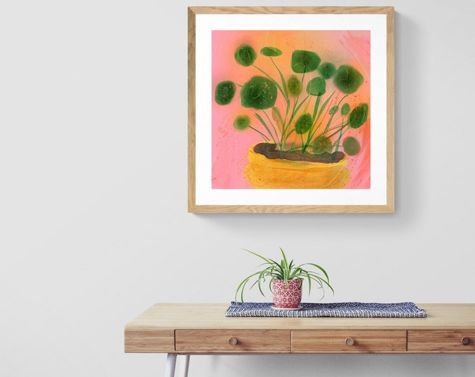 Featured listing image: pilea framed art print
