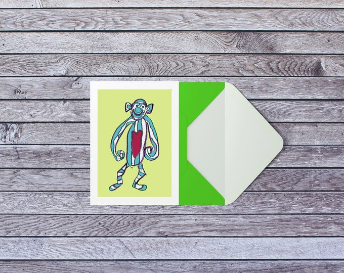 Monkey birthday card, A6 kids birthday card, celebration greeting card green and blue new baby card