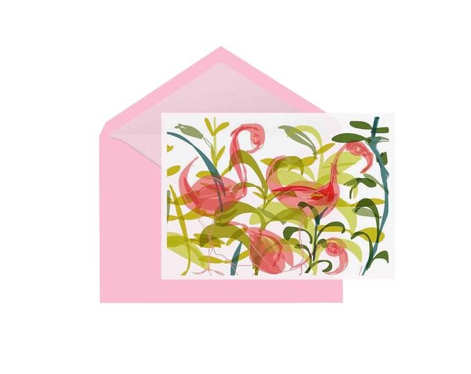 Pink flamingos small greeting card gift card