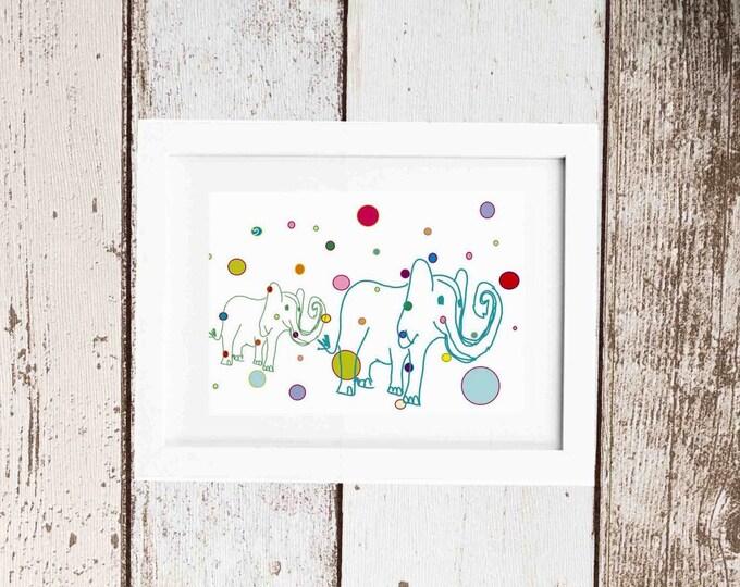 White elephants art print framed wall art