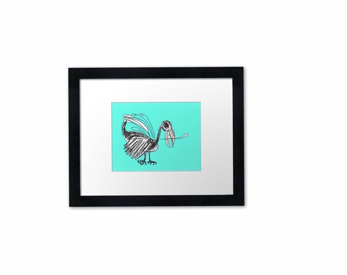 "turquoise bird, art print, nature, gift, 6 x 8"", A5, timber frame"