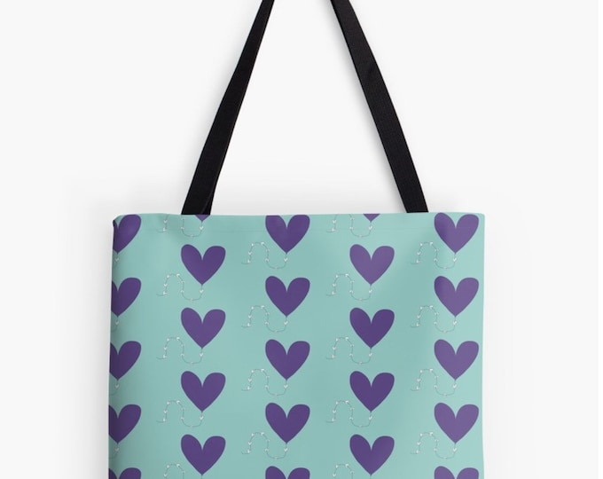 Heart kite floral Tote bag