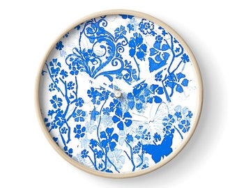 Blue butterflies clock bamboo clock plexiglass  home decor pattern homewares blue and white  wall art