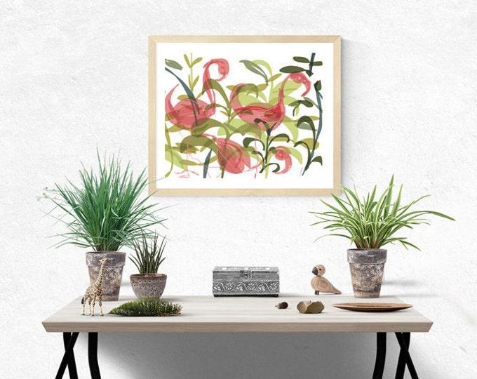 pink flamingos giclée art print