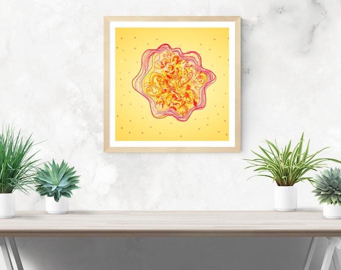 Yellow Mandala framed art print