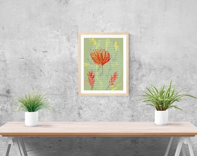 Wattle and bush flowers art print