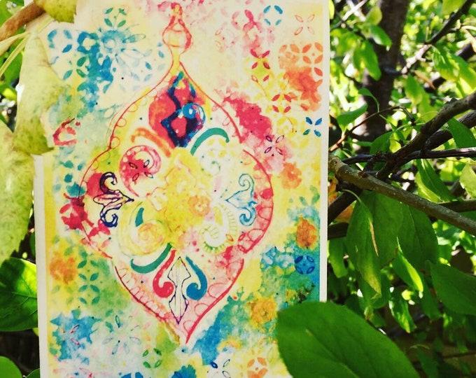 Ornate Lantern blank greeting card