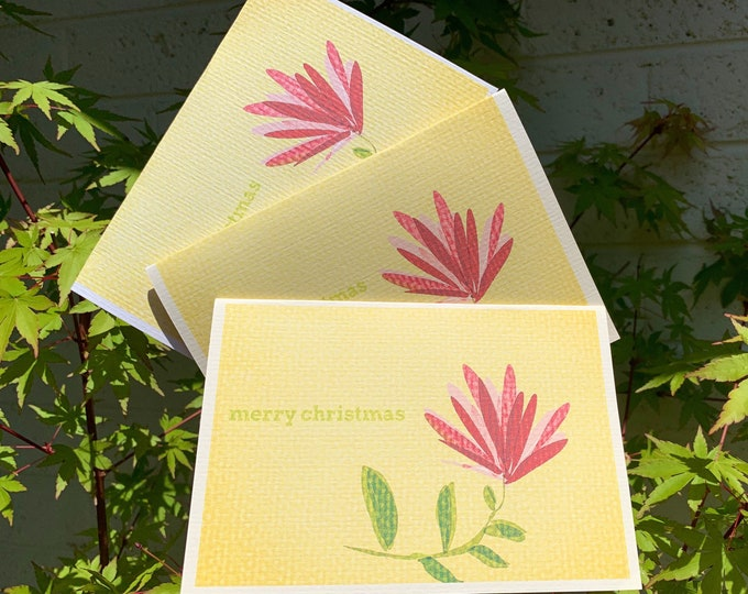 Stationery set pack of 10 Christmas flower greeting cards