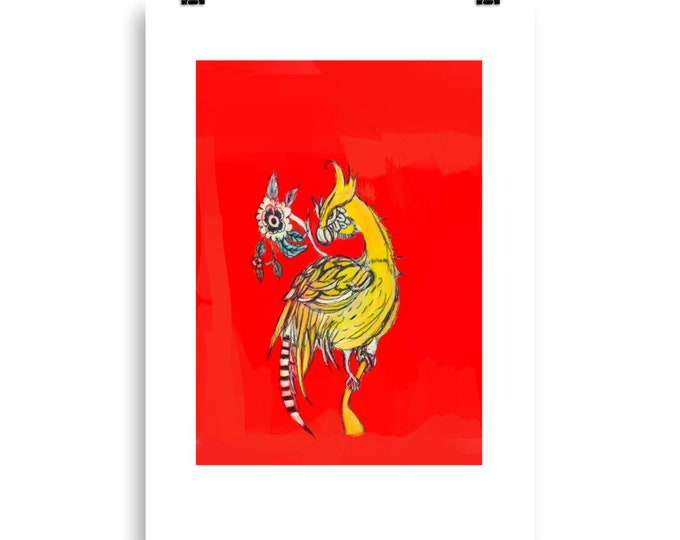 Posing Yellow bird unframed print