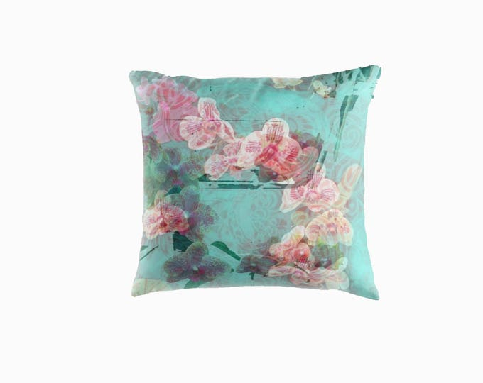 Orchid throw pillow floral throw cushion home decor home wares mothers day gift pink and aqua