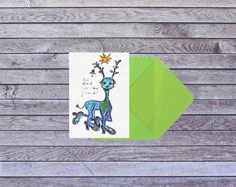 Blue Reindeer Christmas card