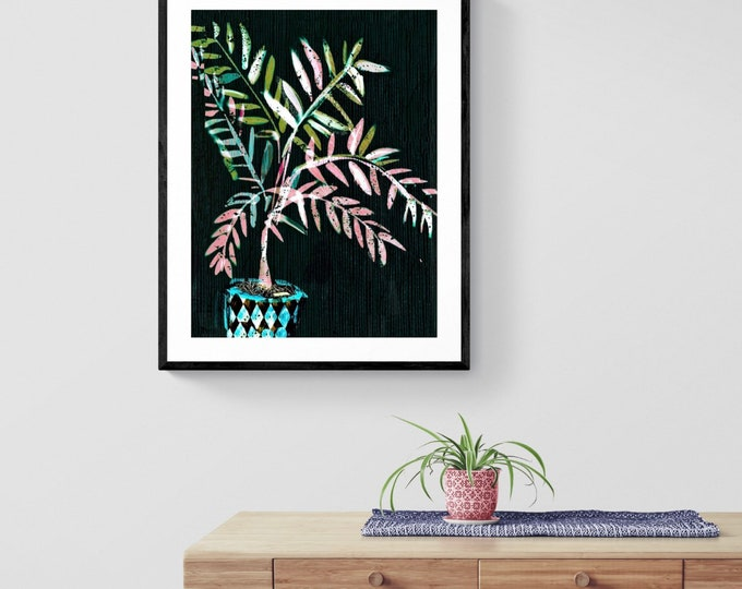 Black Date palm framed art print