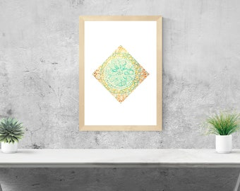 Diamond Mandala framed art print