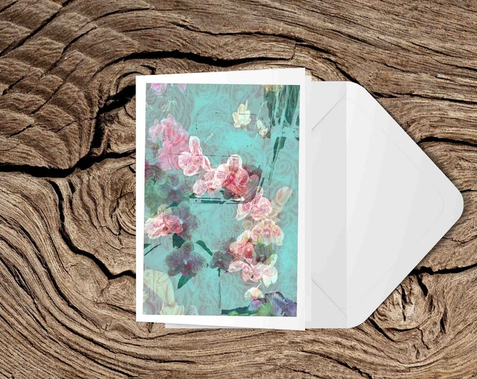 Orchids blank greeting card