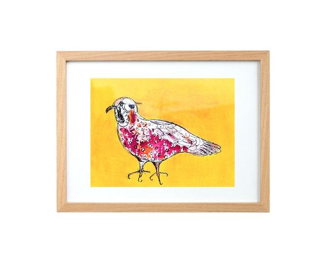 red polka dot bird giclee  framed print